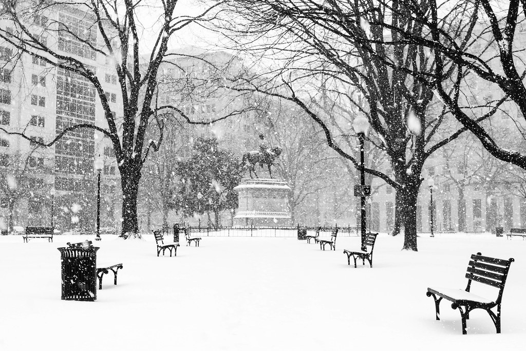 McPherson Square in black and white