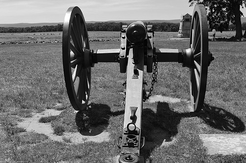 High Water Mark - Pickett's Charge 9 Cannon Facing West 2, Gettysburg, Pennsylvania USA.