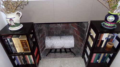 fireplace w/log and grate