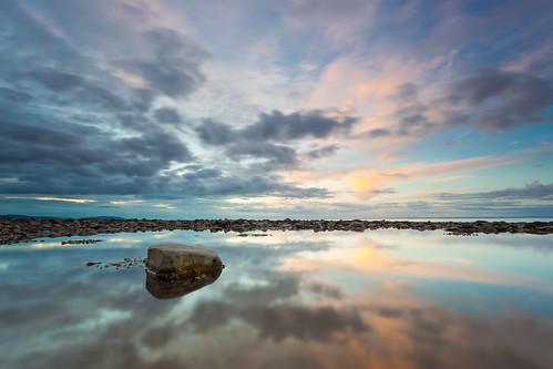 sunset reflection pool rock somerset staudriesbay