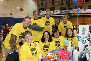 Team Trivia 2014 at Cabrini College, alumni wearing matching Breaking Bad themed team T-shirts