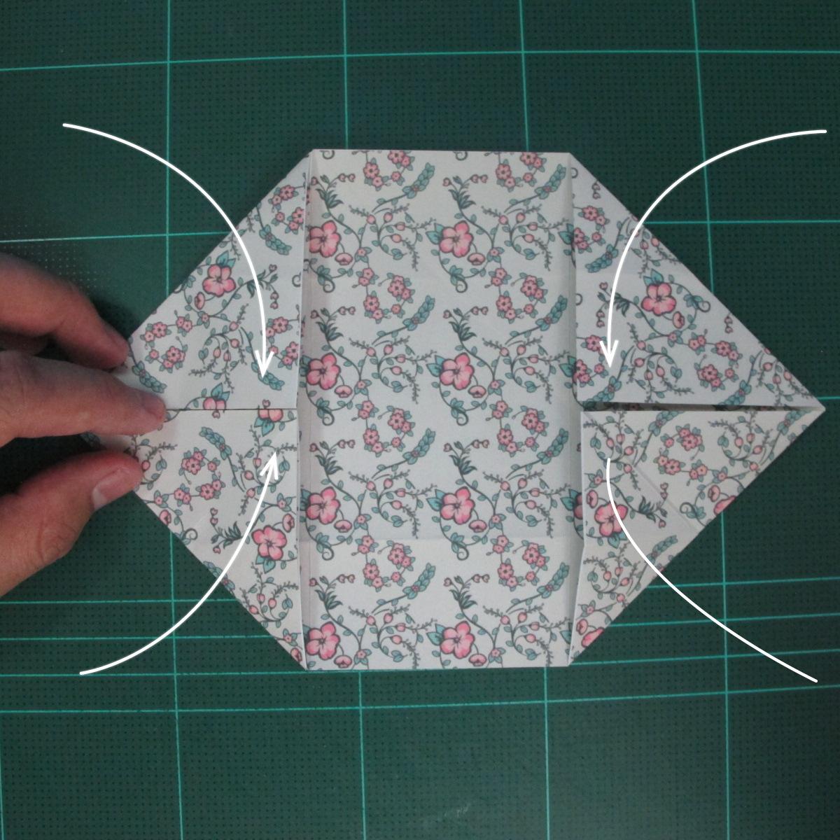 วิธีพับกระดาษรูปหัวใจคู่ (Origami Double Heart)  013