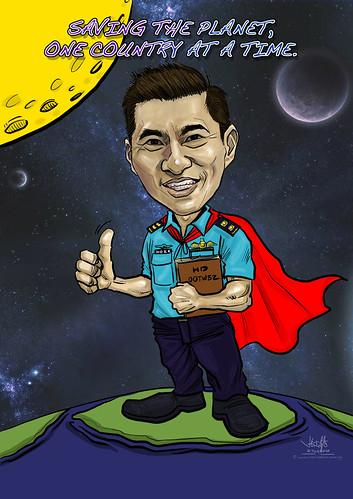 digital caricature of Ho