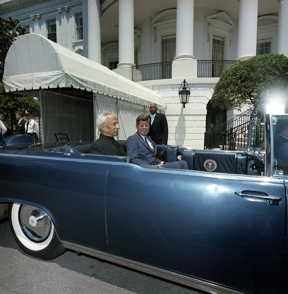 President John F. Kennedy and President Dr. Sarvepalli Radhakrishnan of India in Car before Motorcade