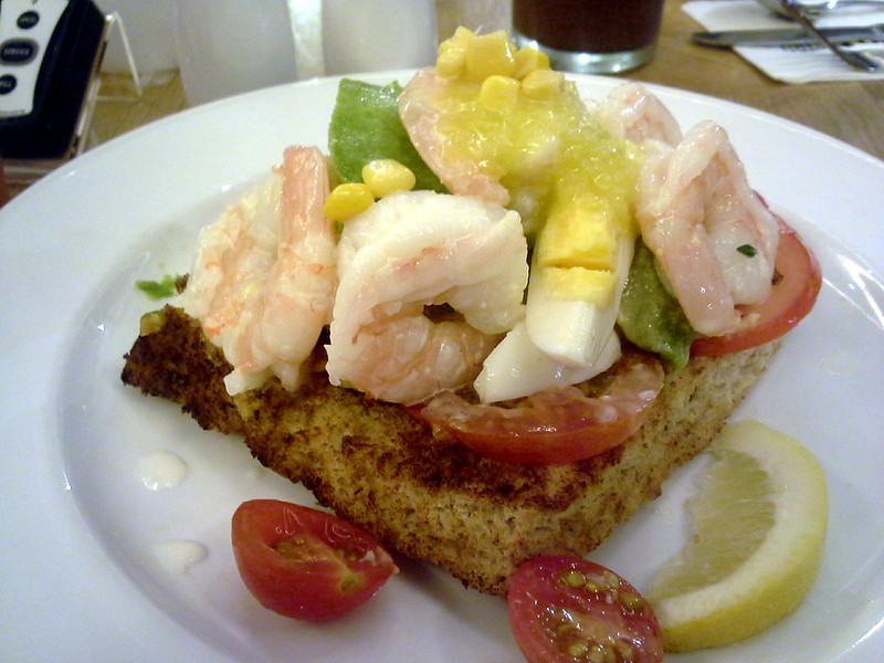 Prawn and Avocado open sandwich