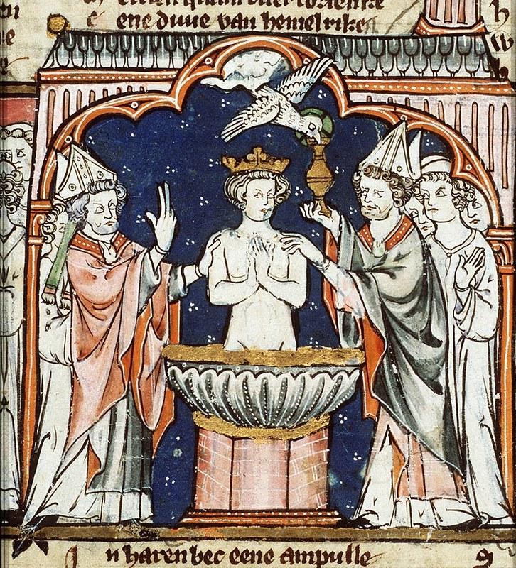 Baptism of Clovis I depiction from Spieghel Historiael by Jacob van Maerlant