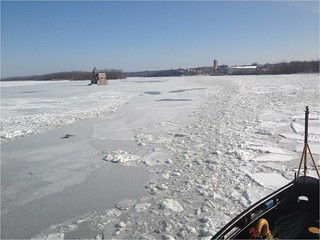 Coast Guard Cutter Thunder Bay breaks ice on the Hudson River in New York on Feb. 2, 2015. The Thunder Bay broke ice in support of Operation Reliable Energy for Northeast Winters, which focuses on keeping shipping channels open in the Northeastern U.S. (U.S. Coast Guard photo by Lt. Zac Bender)
