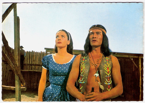 Karin Dor and Daniel Martin in Der letzte Mohikaner (1965)