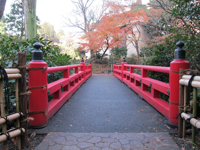 Japanese Red Bridge In A Japanese Garden 赤い橋、日本庭園