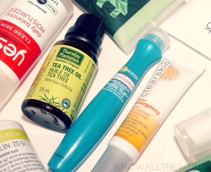 thursday plantation tea tree oil, garnier acne gel treatment, avon clearskin spot treatment