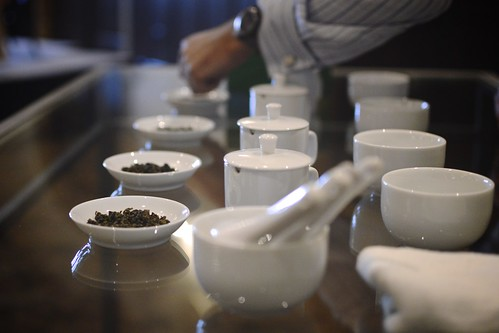 Demonstration of tea tasting during a Tea competition