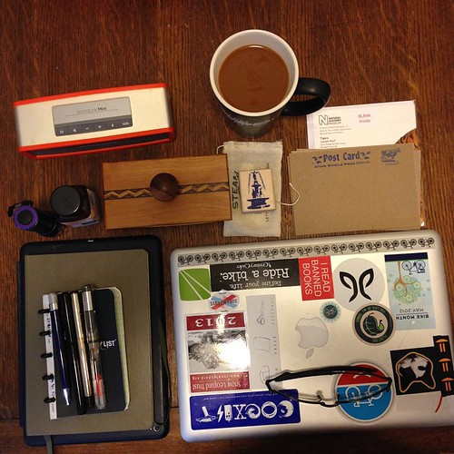 Gear for the morning: MacBook, John Holland, @lamyusapens, and @parkerpens #foodcatspens, @retro1951 Tornado, @leuchtturm1917 journal, Noodler's ink, and Steam Whistle Press Stationary. Oh–and coffee #foodcatspens