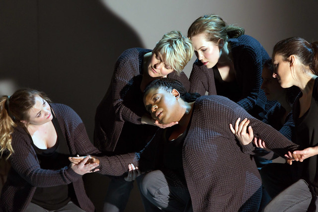 Jennifer Davis, Gweneth-Ann Rand, Lucy Schaufer, Emily Edmonds and Clare Presland in 4.48 Psychosis © ROH 2016. Photograph by Stephen Cummiskey
