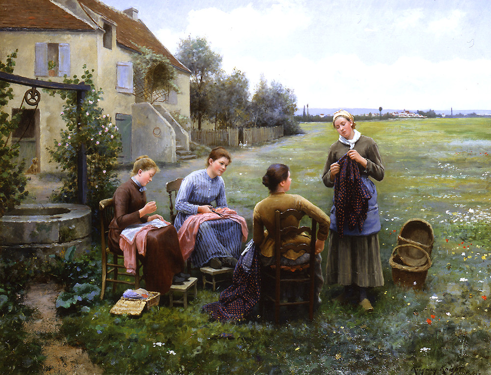 The Sewing Circle by Daniel Ridgway Knight
