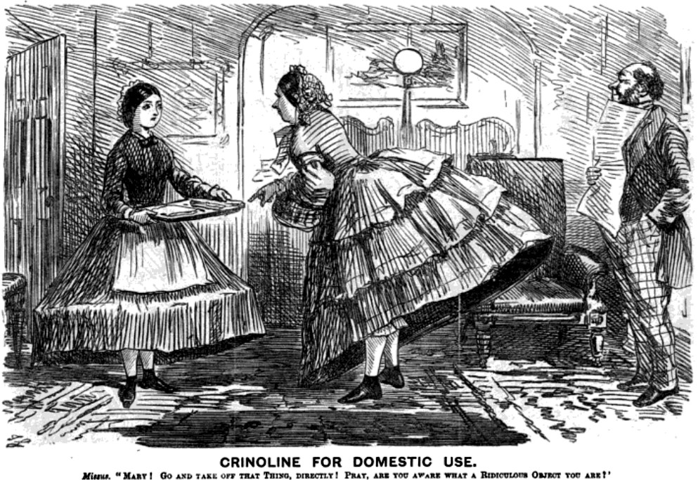 Cartoon of Mistress and her Maid in Crinolines