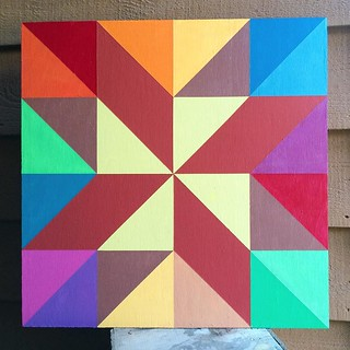 My mom, sister and I took a Barn Quilt workshop today. The class and a talk last night were presented by #barn quilt author #SuziParronSmith. I chose the #starflower quilt pattern. Now, to decide where to hang it. I don't think I'm done, and want to make