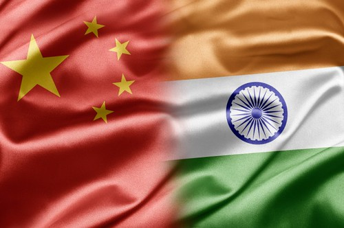 China India flag graphic via shutterstock.com