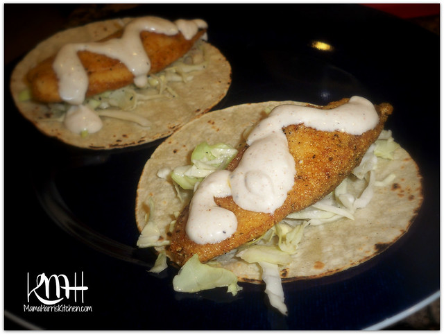 Fish tacos with creamy fish taco sauce mama harris 39 kitchen for Fish taco sauce recipe