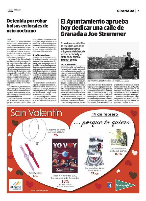 Cobertura en prensa sobre la plaza de Joe Strummer