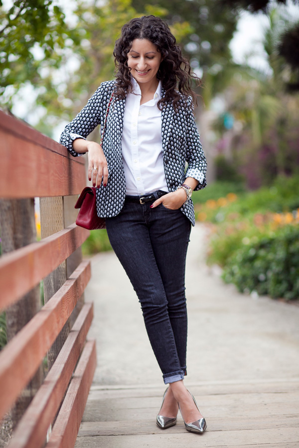 Simple in a Printed Blazer