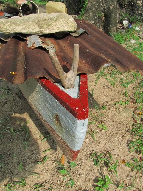 Neat anchor fairlead on dugout canoe - labuan island Malaysia