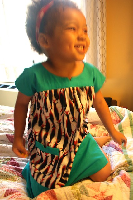 """Swim Away!"" African wax fish print dress (Oliver & S ice cream dress)"
