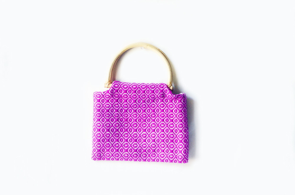 VIntage Purple Woven Purse with Bamboo Handle