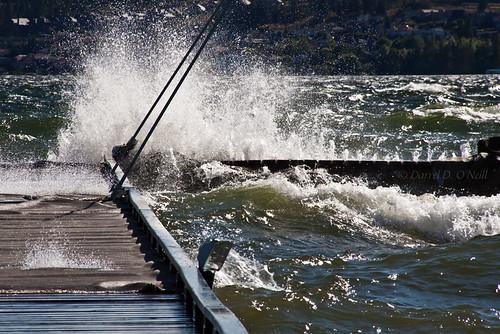 blue brown white canada green water docks landscape wooden waves bc okanagan piers shoreline lakes scenic floating windy kelowna splashing