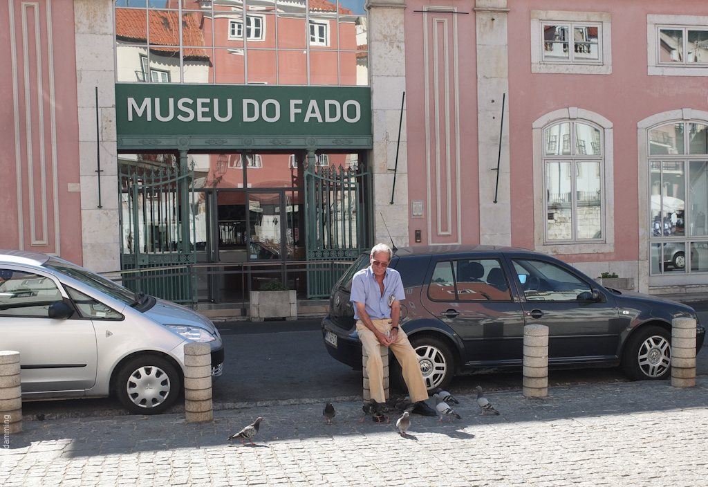 Lisbon, Man and Pigeons in Alfama