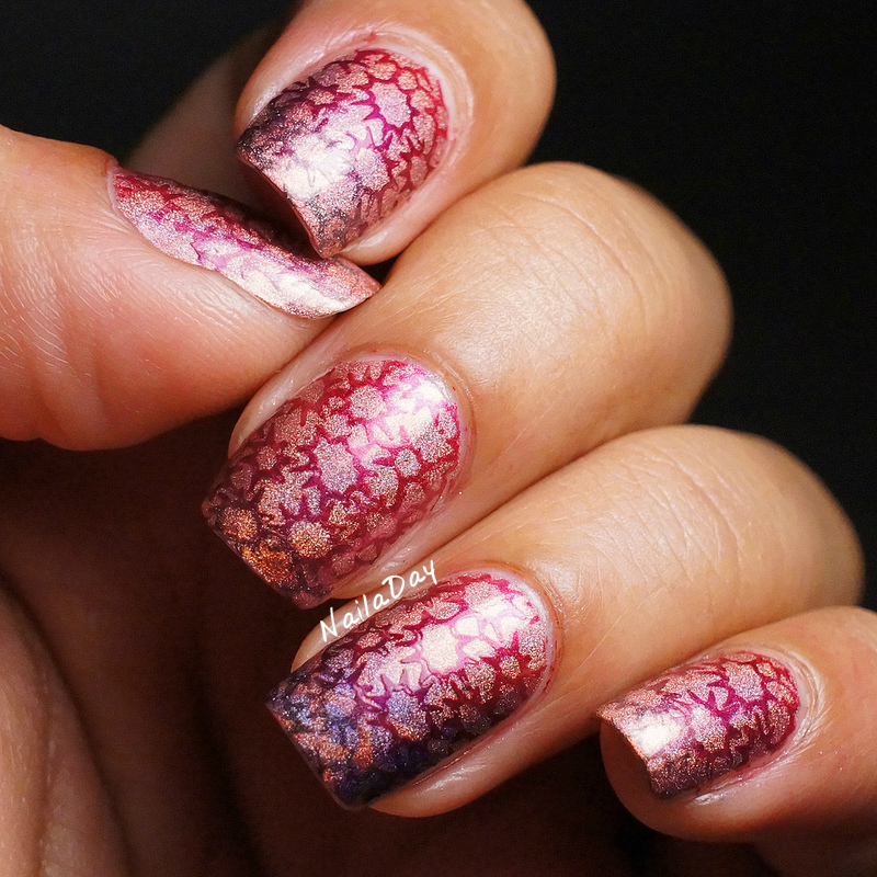 NailaDay: Color Club Miss Bliss with gradient stamping