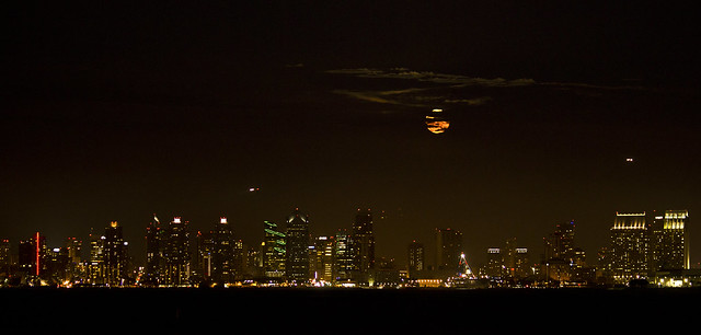 San Diego Skyline under a rising moon