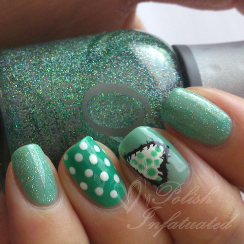 turquoise and patchwork nail art