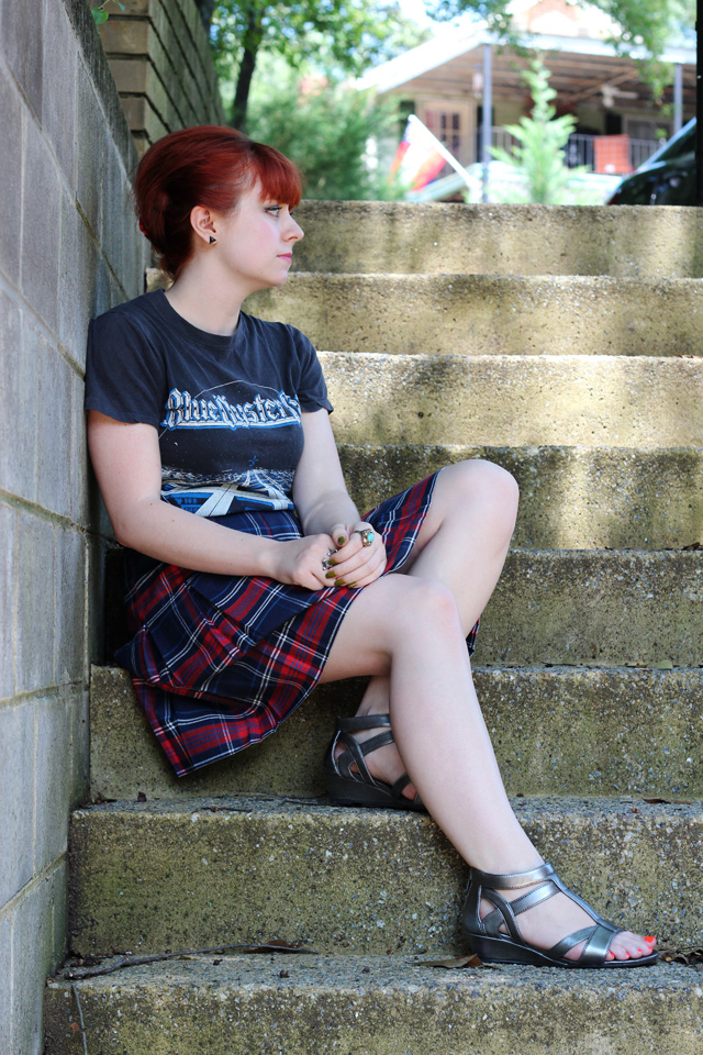 Vintage 70s T-shirt with a Plaid Skirt