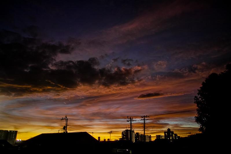 台風一過、夕焼け