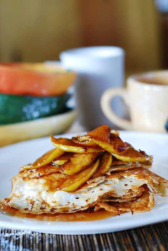 Crepes with ricotta cheese filling, apples, and honey, pancakes, breakfast recipe