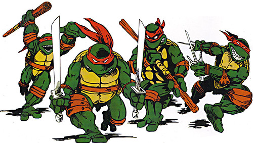 TEENAGE MUTANT NINJA TURTLES :: 'HEROES IN A HALF SHELL'  PLAYMATES TOYS 2009 NYCC / TMNT 25 RETRO PRINT ( 1987 Repro Sales Flyer } v // Teens isolated (( 2009 ))