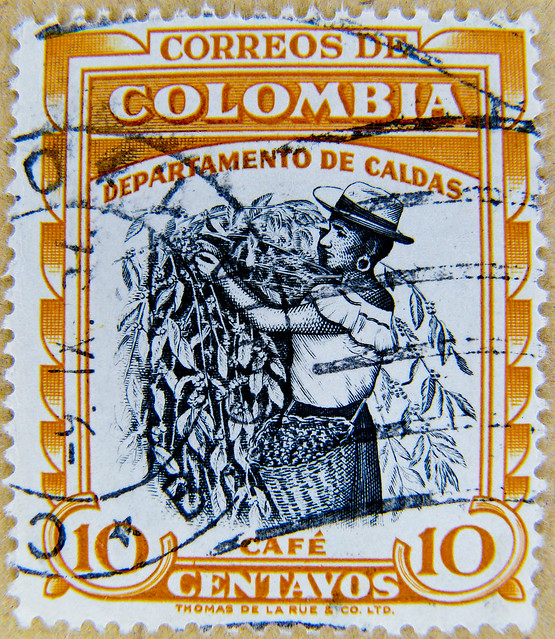 great stamp Colombia 10 cts (caffee harvesting, café, 咖啡, caffè, ко́фе, コー​​ヒー, kawa, قهوة ) Kolumbien Briefmarke postage selo sello francobolli timbre colombie 哥伦比亚 邮票 stamp ма́рка Колу́мбия estampilha Colômbia selo Kolombia znaczek 郵便切手 コロンビア franco 10c