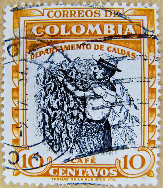 great stamp Colombia 10 cts (caffee harvesting, café, 咖啡, caffè, ко́фе, コーヒー, kawa, قهوة ) Kolumbien Briefmarke postage selo sello francobolli timbre colombie 哥伦比亚 邮票 stamp ма́рка Колу́мбия estampilha Colômbia selo Kolombia znaczek 郵便切手 コロンビア franco 10c