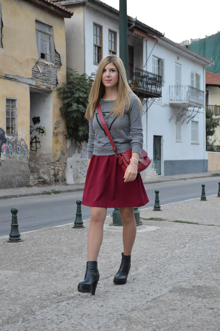 burgundy dress grey sweater2