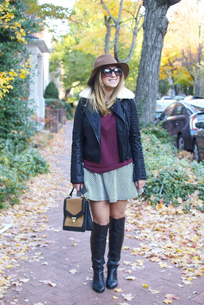 fall outfit, cute girly fall outfit, the best of fall clothes, fall style, fall fashion, dc blogger, dc style, fashion blogger, over the knee boots, fall hats, leather jacket, fur collar