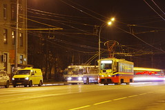 Moscow tram and trolleybus night photo