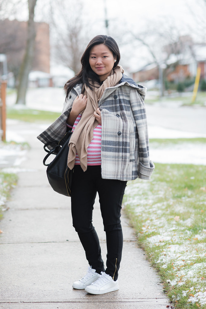 zara plaid coat, jcrew red stripes, banana republic scarf, thyme maternity skinnies