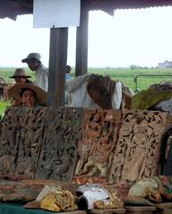 Kaungdain Market wood carvers display
