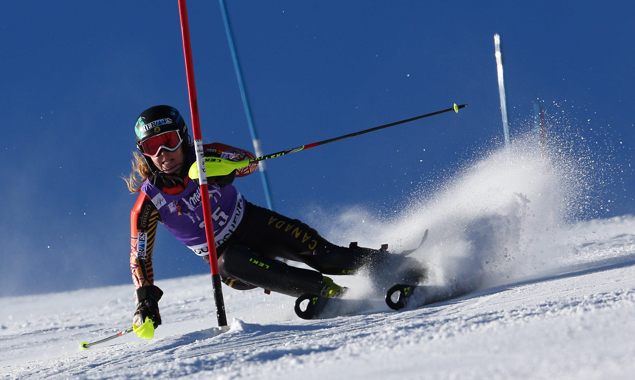 Brittany Phelan manoeuvres through the slalom course in Courchevel, FRA