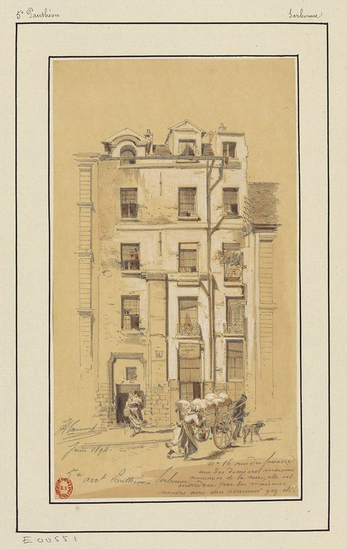 19th c. street scene watercolour drawing: goods on a cart outside 3-storey apartment block