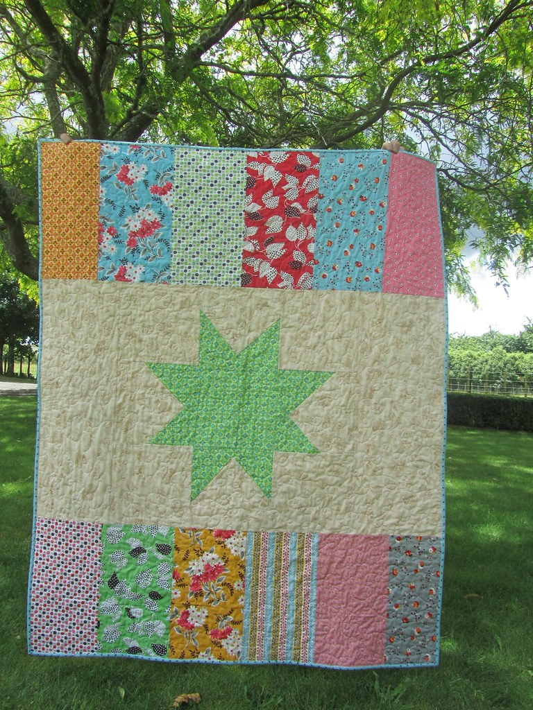 Back of the Flea Market Fancy Wonky Stars quilt