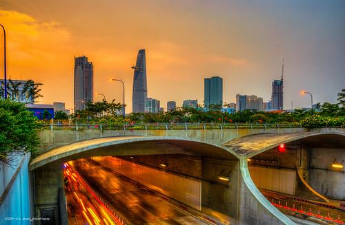 longexposure sunset skyline skyscraper landscape cityscape vietnam lighttrails saigon hdr saigonriver thuthiemtunnel