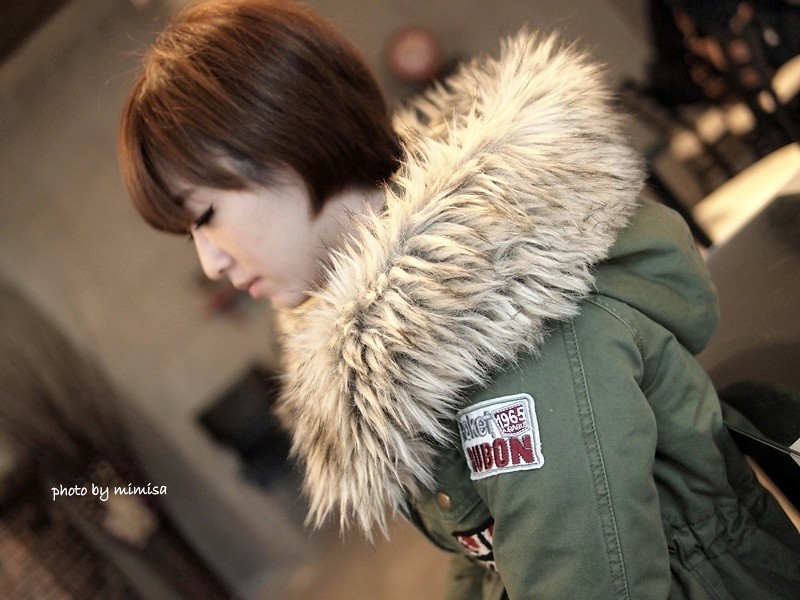 RUBON 軍綠色毛領大衣 (7)