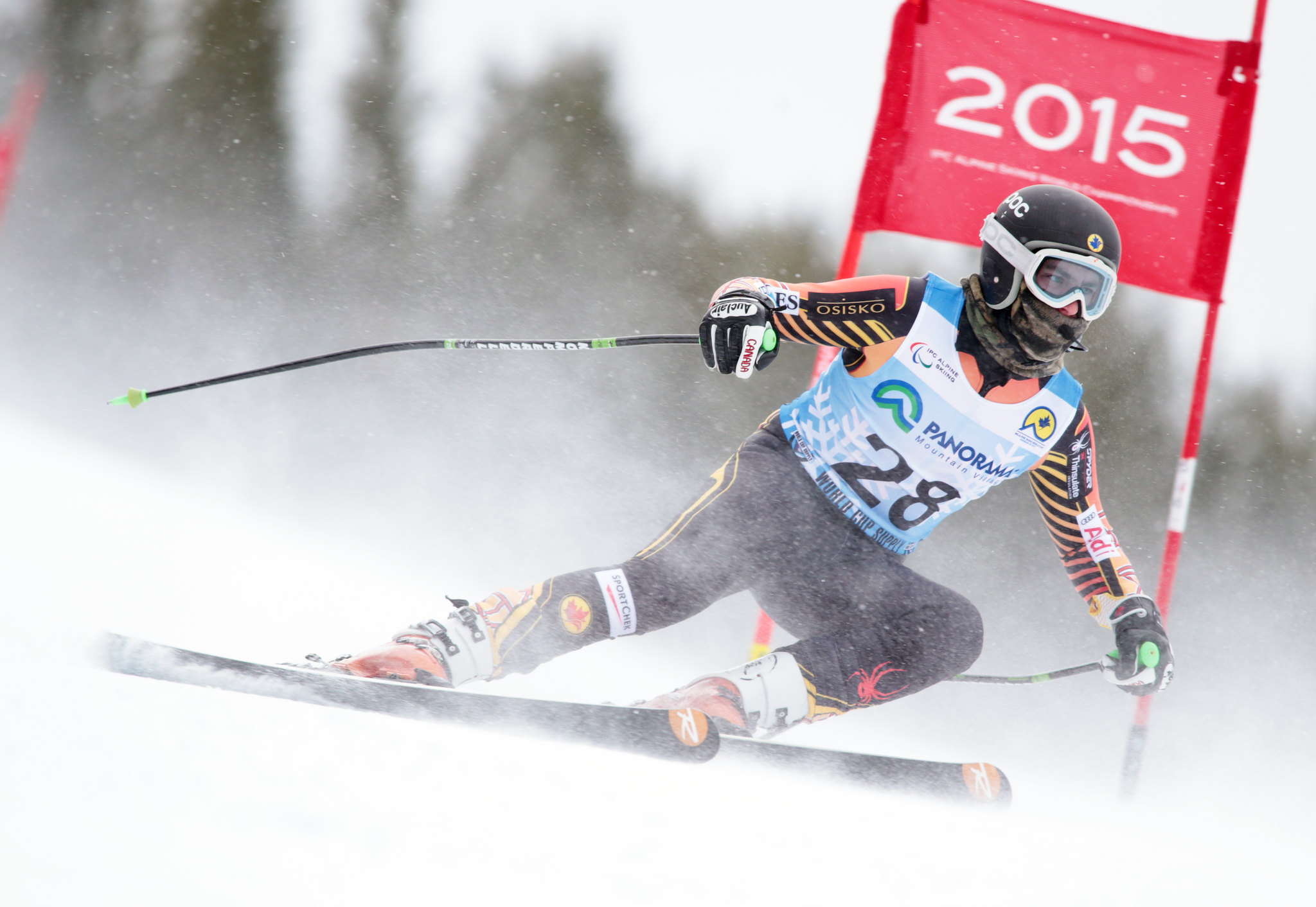Mac Marcoux in action during the downhill in Panorama, CAN