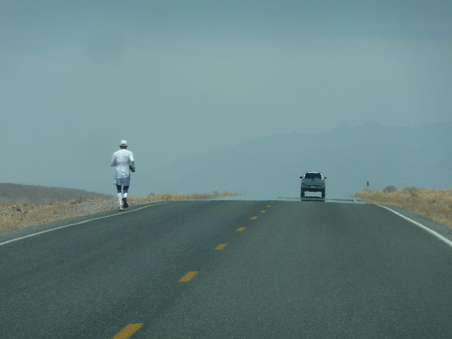 Death Valley - guy jogging in 102F heat